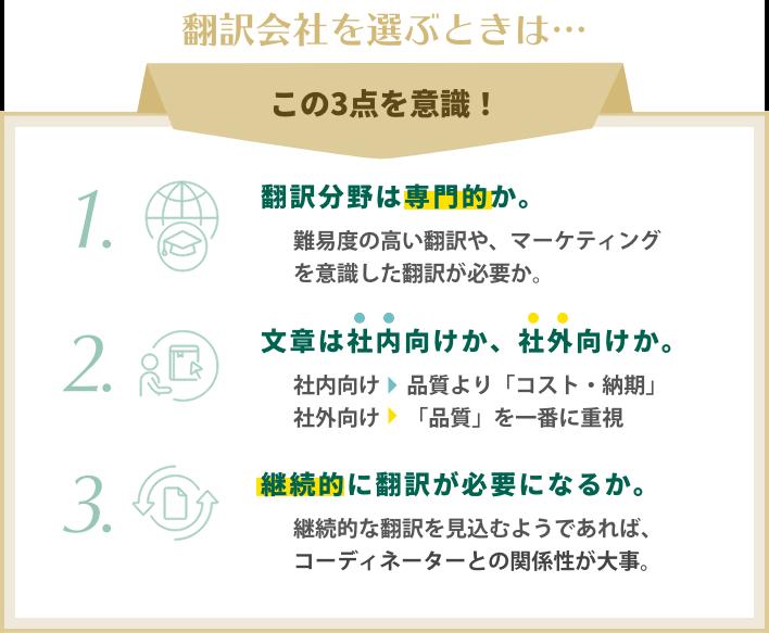 翻訳会社を選ぶときは…この3点を意識!1. 翻訳分野は専門的か。難易度の高い翻訳や、マーケティングを意識した翻訳が必要か。2. 文章は社内向けか、社外向けか。社内向けの文章であれば、クオリティを求めすぎないこと。3. 継続的に翻訳が必要になるか。継続的な翻訳を見込むようであれば、コーディネーターとの関係性が大事。